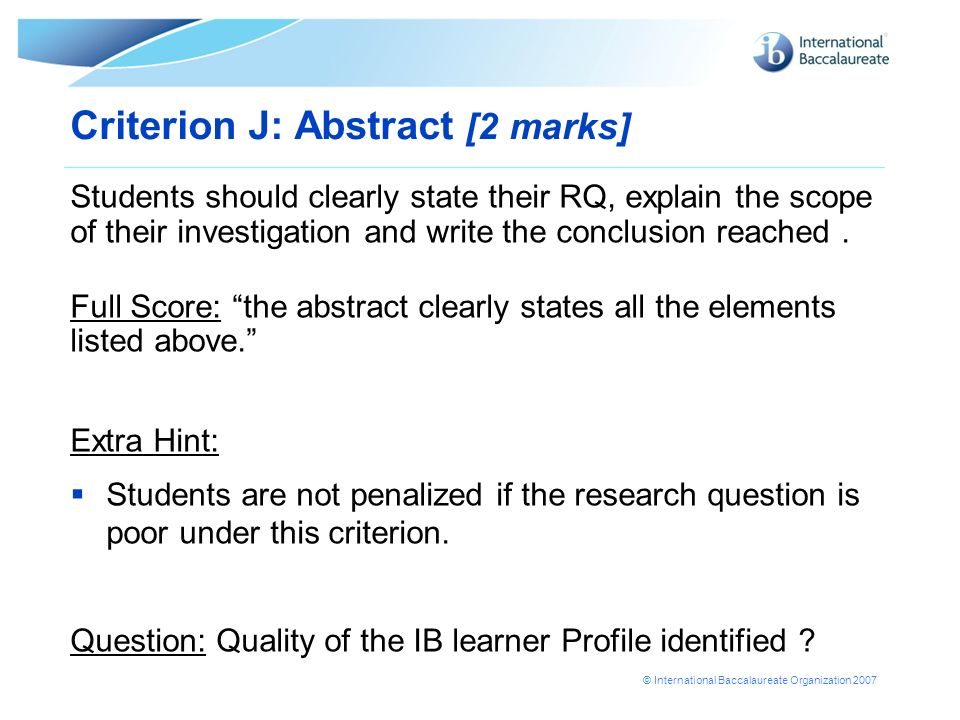 Criterion J: Abstract [2 marks]